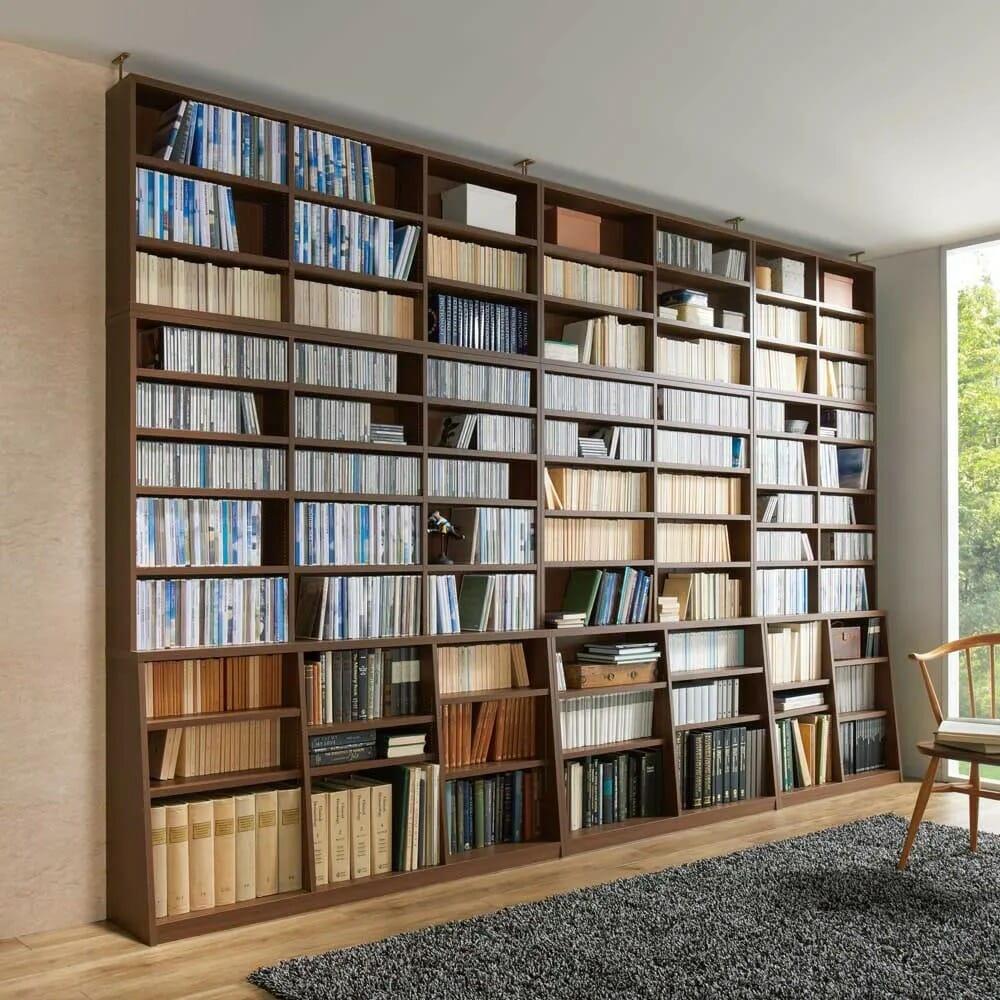 脚元安定1cmピッチ棚板頑丈薄型書棚