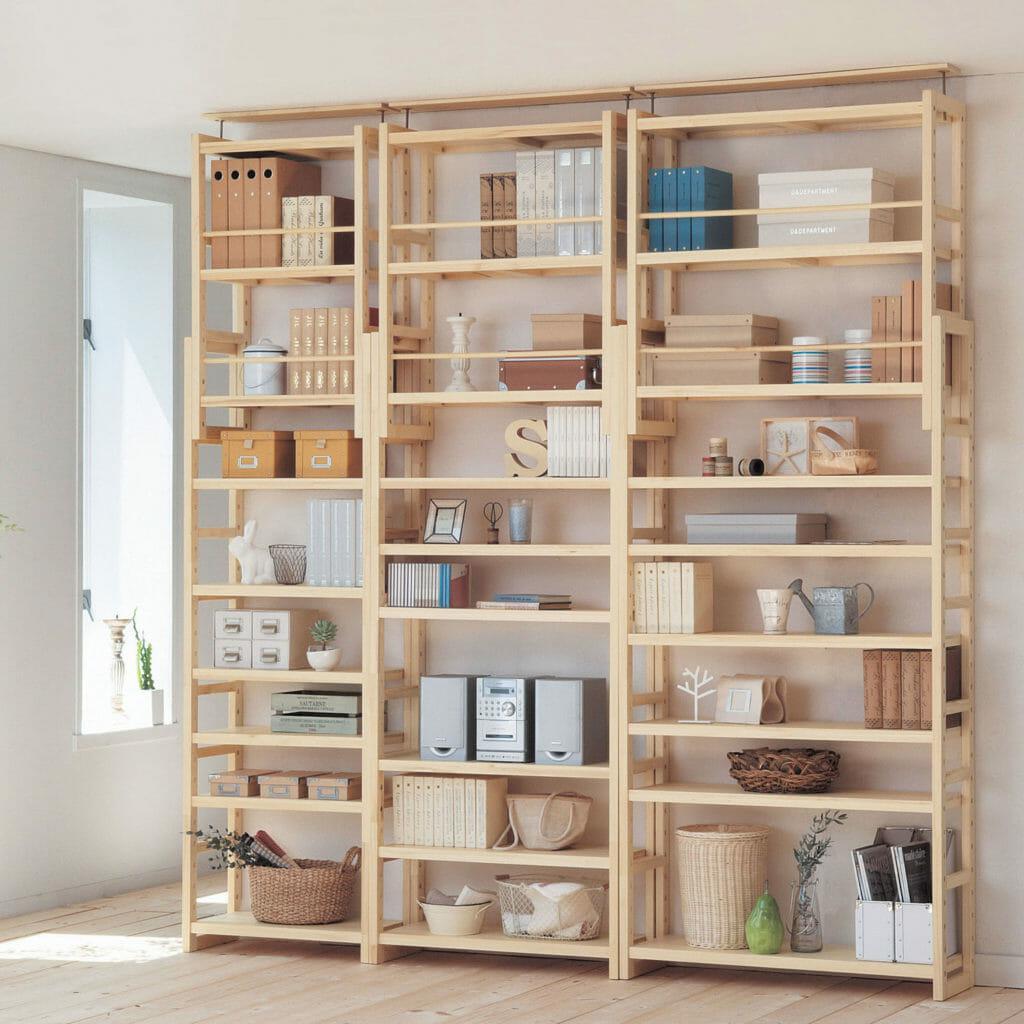 薄型突っ張り式木製オープンシェルフ